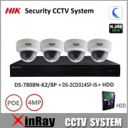 Hikvision 8POE NVR DS-7808N-K2/8P & 4MP Dome Camera DS-2CD3145F-IS Security Camera System Support P2P Remote Viewing H.265 Kit