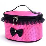 Ularma Moda Portátil de viaje neceser maquillaje cosméticos organizador porta bolso (rosa roja)