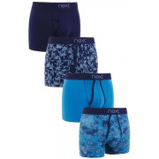 Mens Next Teal Floral A-Fronts Four Pack - Floral