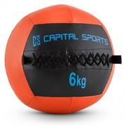 Capital Sports Wallba 6 Balón medicinal de cuero sintético (peso 6 kg, forro exterior, costuras resistententes, superficie manejable, esfera ejercicios gimnasia, pelota agarre adecuado para entrenamiento funcional, naranja)