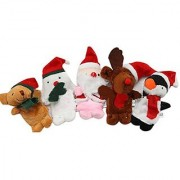 WOVTE Children Kids Babies Educational Story Christmas Santa Claus Deers Snowman Finger Puppet Doll Hand Toys Series Set of 5