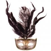 Venetiaans masker met veren zwart met goud