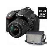 Kit aparat foto Nikon D5300 (AF-P 18-55 VR), negru +geanta Nikon + card 8GB SD, 3 ani garantie body