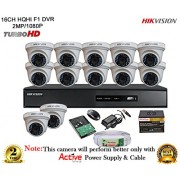 Hikvision Turbo DS-7216HQHI-E2 16CH DVR + Hikvision DS-2CE56DOT-IR Night Vision Dome Camera 12pcs+ 2TB HDD + Active Cable + Active Power Supply (FULL COMBO)