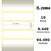 Zebra Z-Ultimate 3000T White - Etichette in poliestere di colore bianco, formato 51 x 13 mm.