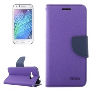 Cross Texture Contrast Color Style Leather Case with Holder & Card Slots & Wallet for Samsung Galaxy J1 Ace / J110(Purple)