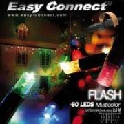 Easy Connect Guirlande led FLASH effet Scintillant à 60 Leds Multicolores 2,5M Cable Noir Ref 62999