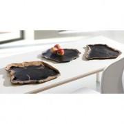 Servierschale aus fossilem Holz, Schwarz