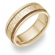 14K Yellow Gold Hammered Brushed Wedding Band Ring