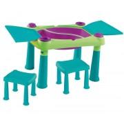 Creative Play kreatív asztal + 2 db szék kék-zöld KETER