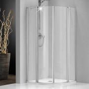 Douchecabine Sealskin Get Wet 205 Kwartrond 90x90x195cm Mat Zilver Helder Glas