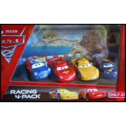 Disney Cars 2 Movie Pixar Exclusive 4 Pack Ronnie Del Cooper Jeff Gorvette Max Schnell Lightning McQueen With Racing Wheels 1:55 Scale Mattel 2011 by Mattel