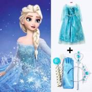 Ensemble Lot Robe + Accessoires La Reine Des Neiges Diadème Couronne Baguette Tresse Gants Elsa Anna Déguisement Costume Princesse