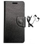AravStore Black Flip Flap Cover & Handfree Specially Designed For Panasonic P88 - Black