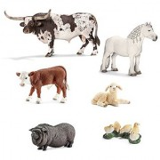 Schleich Farm Animals Set of 6; 13721 Texas Longhorn Bull 13739 Fell Pony Stallion 13765 Hereford Calf 13747 Pot Bellied Pig 13745 Lamb Lying 13648 Chicks