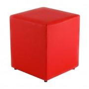 Puff Quadrado Box Couro Sintético Vermelho