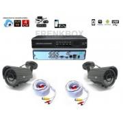 Kit videosorveglianza DVR Cloud Hdmi 2 telecamere lente varifocale 2,8-12mm cavi