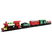 Classic Christmas Train Express 17 Piece Battery Operated Toy Train Set W/ 5 Train Cars, 12 Railway Tracks, 4 Track Configurations