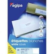 Agipa Etiquettes Coins Droits - Étiquettes Adhésives Permanentes - Blanc - 105 X 70 Mm 800 Étiquette(S) ( 100 Feuille(S) X 8 )