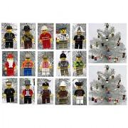 Master Builders Brick Block Figure 15 RANDOM Piece MINI Christmas Ornament Set - Shatterproof Plastic Ornaments Around 1.5 to 2 Tall