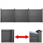 vidaXL 3 броя квадратни WPC панели за градинска ограда, сиви, 583 см