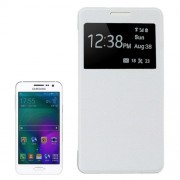 Leather Cover Connect Translucence PC Back Shell Protective Case with Caller ID Window for Samsung Galaxy A5 / A500(White)