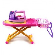 Happy Family Fashion Toy Iron Board Set w/ Clothes Iron Ironing Board Basket Hanger
