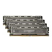Ballistix Sport LT Kit Memoria da 16 GB (4 GBx4), DDR4, 2400 MT/s, (PC4-19200) DIMM, 288-Pin - BLS4C4G4D240FSB, Grigio