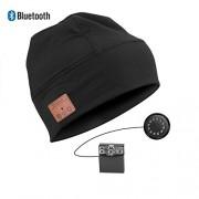 Gorro Bluetooth Estéreo - Cascos Audio sin Cables y Kit de Manos Libres Integrado - Negro