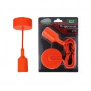 Vision-EL Suspension orange vif avec douille pour ampoules LED culot E27 longueur 2m