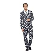 Smiffy's Adult Men's Skeleton Suit, Stand Out Suits, Jacket, Trousers and Tie, Stand out Suits, Serious Fun, Size: M, 43714