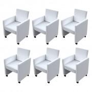 vidaXL Conjunto de cadeiras jantar em branco, 6 peças