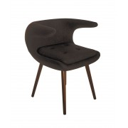 Replica Frost Chair by Bo Strange with Black Soft Cashmere Fabric and Walnut Wood Legs