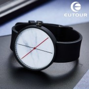 Eutour Men's Vintage Retro Rubber Quartz Watch Minimalist Men White Marble Watches Clock Wristwatches Popular Fashion Pop Boy