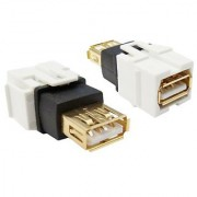 Offex OF-333-120 Keystone Insert White USB 2.0 Type A Female Coupler Gold Plated