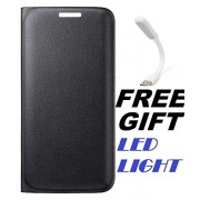 Panasonic P55 Novo Flip Cover Case With Free LED Light By Vinnx - Black
