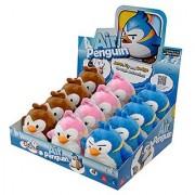 Air Penguin Plush - Set of 3 Penguins (Brown Blue & Pink) (5 inch)