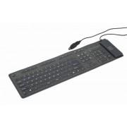 Tastatura flexibila USB GEMBIRD (KB-109F-B), wired cu 109 taste, culoare: negru
