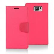 Korean Mercury Sonata Wallet Case for Samsung Galaxy S6 - Hot Pink
