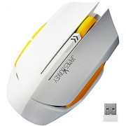 Wireless Gaming Mouse AFUNTA 6 Buttons 2000 DPI Full Size Game Mice with USB Transmitter for PC Laptop Desktop Tablet Windows 10/8/7/XP MAC Android Working distance up to 15m - White+Yellow
