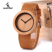 BOBO BIRD WD18 Wooden Bamboo Watch with Genuine Brown Leather Strap Quartz Analog High Quality Miyota Movement Wood Gift Box