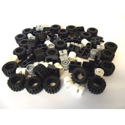 LEGO City - Wheel, Tire and Axle Set - Black, White, and Light Gray, 72 Pieces in Total by LEGO