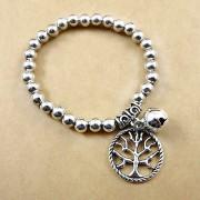 Bratara etnica, din bilute argintii, cu medalion Copacul vietii