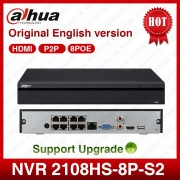 Dahua POE NVR NVR2108HS-8P-S2 8CH Network Video Recorder Full HD 1080P Recorder With 1SATA 2USB Interface