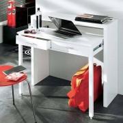 La Console-bureau munie de deux tiroirs laquée blanc ou finition chêne, design Leonhard Pfeifer