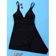 rosegal Plunging Neck Skirted One Piece Swimsuit