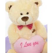 Peach 3.5 Feet Big Teddy Bear with a Pink I Love You heart