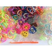 Rainbow Loom Bands Set- 1,800 Bands Assorted Colors, Glitter and Glow in the Dark, Charms, S-Clips a