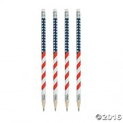 24 USA American Flag Pencils - 4th of July Wooden Patriotic