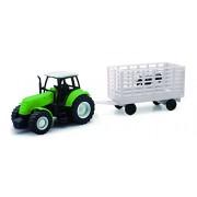 NEWRAY 05686 - Farm Tractor Scala 1:32 Trattore Verde con Trasporto Animali, Scala 1:32